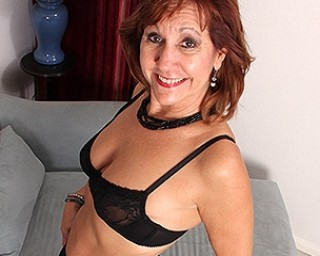 Horny American mature lady strips first and then plays with her toy