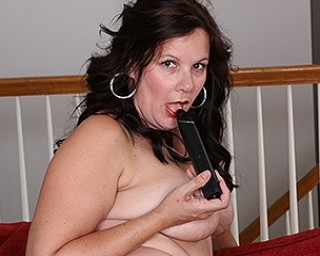 Horny American housewife loves her toy