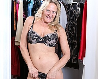 Naughty mature Mary gets out of the closet