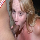 Horny housewife swallowing a big hard black dick