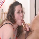 Chubby mature sucking a hard cock