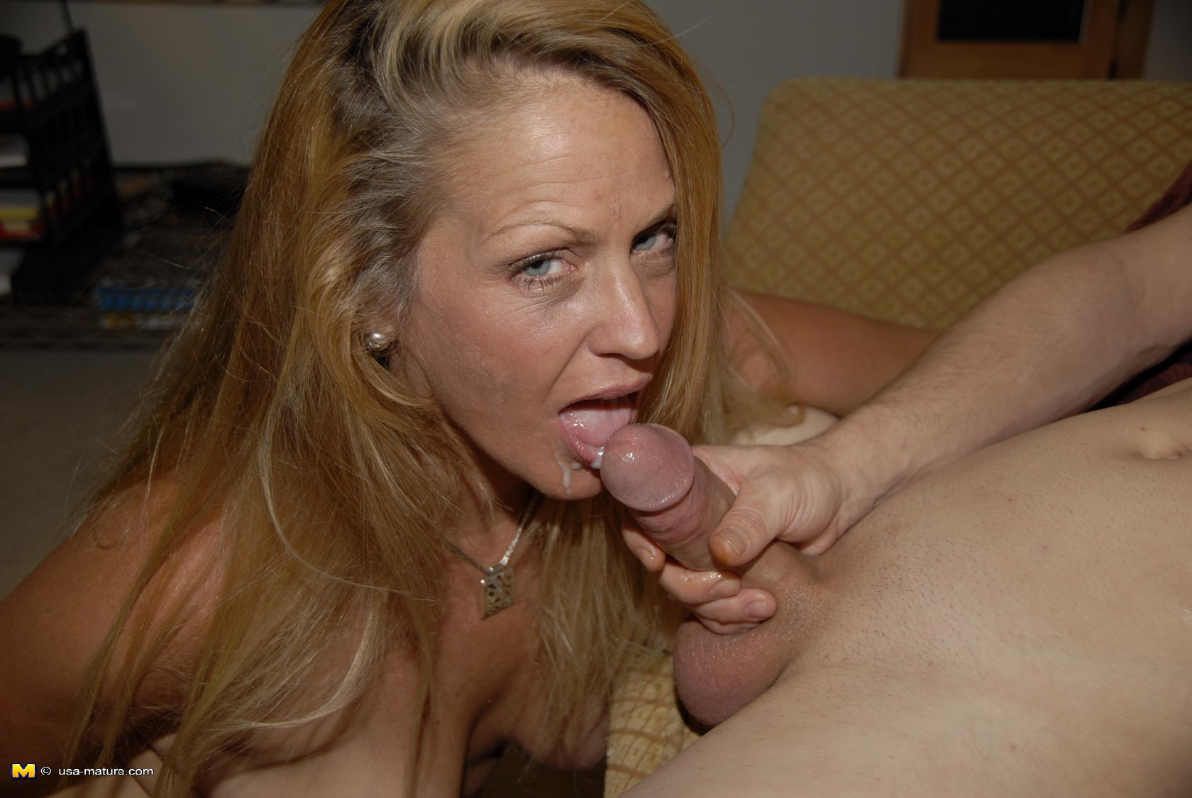 Blonde cock mature sucking