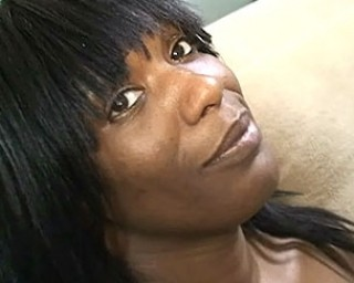 See this black mature beauty enjoy a piece of white meat