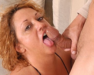 Big titted housewife loving to eat cock and cum