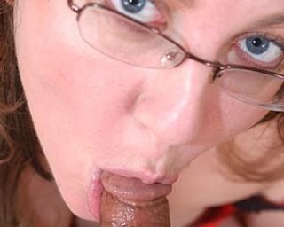 Chubby housewife sucking a hard cock
