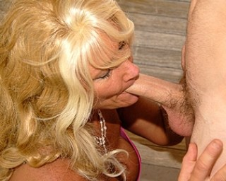 This big titted blonde mature slut loves the taste of cock