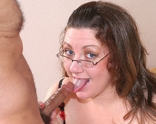 Chubby housewife sucking a hard cock