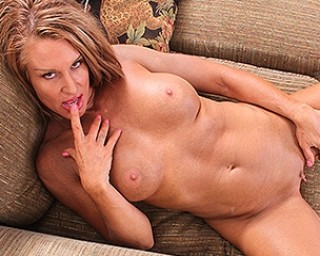 Horny American mom playing with her wet pussy