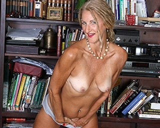 Horny American Librarian playing with her wet pussy