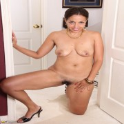 Naughty American housewife playing with her hairy pussy