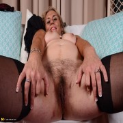 Hairy American housewife playing around